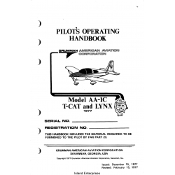 Grumman Model AA-1C T-CAT and LYNX Pilot's Operating Handbook $9.95