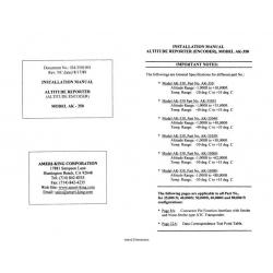 Altitude Reporter(Encoder),Model Ak-350 Installation Manual $9.95