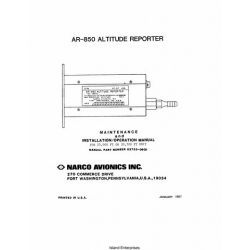 Narco AR850 25Pin Altitude Reporter Maintenance and Installation Operation Manual 1987 03753-0600 $9.95
