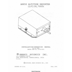Narco AR850 Altitude Reporter Installation and Operation Manual 2003 03753-0623