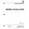 Cessna Model 310 thru 310D 1955 thru 1960 Service Manual P150-6-13 $29.95