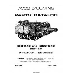 Lycoming IGO-540 and IGSO-540 Series Aircraft Engines Parts Catalog $13.95
