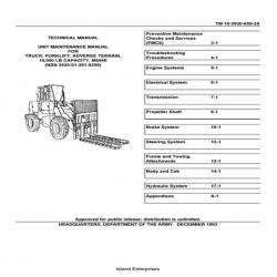 Adverse Terrain 10,000 LB Capacity, M544E Forklift TM 10-3930-659-20 Unit Maintenance Manual 1993 $9.95