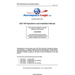 Aerospace EGT-100 Exhaust Gas Temperature Operations and Installation Manual 2005 $4.95