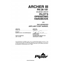 Piper Archer III PA-28-181 (SN 2843001 and UP) Pilot's Operating Handbook and FAA Approved Flight Manual_VB-1611 $29.95