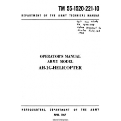 Army AH-1G Helicopter TM 55-1520-221-10 Operator's Manual $9.95