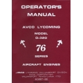 Avco Lycoming O-320 Series Aircraft Engines Operators Manual 1976 $9.95
