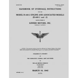 Kinner R-440-1, & 3 Aircraft Engine Overhaul Instructions 1942 $9.95