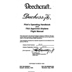 Beechcraft Duchess 76 Pilot's Operating Handbook and FAA Approved Airplane Flight Manual $19.95