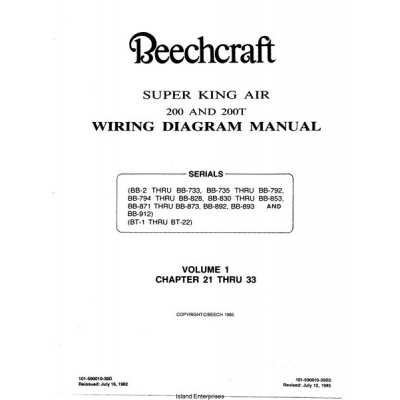 Beechcraft Super King Air 200 and 200T    Wiring Diagram Manual    1982  1985  1995