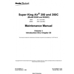Beechcraft Super King Air 350 and 350C (Model B300 and B300C) Maintenance Manual 1989 - 2010 $19.95