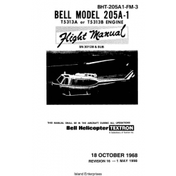 Bell 205A-1 T5313A or T5313B Engine BHT-205A1-FM-3 Flight Manual/POH 1968 - 1998 $9.95