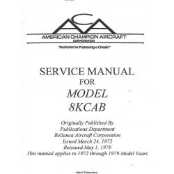 Bellanca Decathlon 8KCAB Service Manual 1972 - 1979 $13.95
