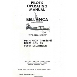Bellanca Decathlon (Standard), CS, Super Decathlon Pilot's Operating Manual 1978 - 1980 $9.95