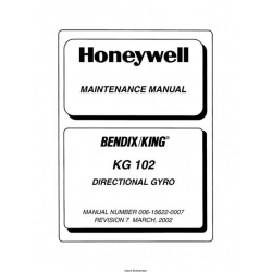 Bendix King KG 102 KG-102 Directional Gyro Maintenance Manual 006-15622-0007 $29.95