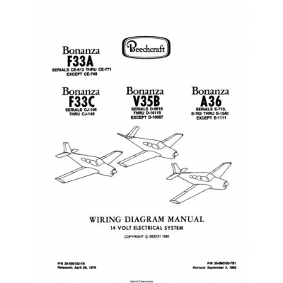 beechcraft bonanza f33a f33c v35b a36 wiring diagram manual rev 1982
