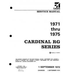 Cessna Cardinal RG Series 1971 thru 1975 Service Manual $19.95