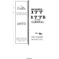Cessna 177, 177B and Cardinal Owner's Manual 1975 $9.95