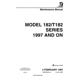 Cessna 182S and T182 Series 1997 and On Service and Maintenance Manual 182SMM14 $19.95