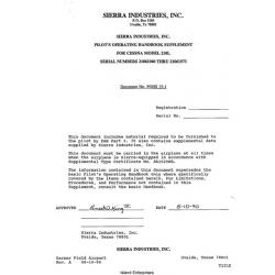 Cessna 210L S/N 21061040 thru 21061573 Pilot's Operating Handbook Supplement 1990 $6.95