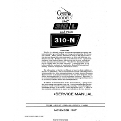 Cessna 310L and 310N 1967 thru 1968 Service Manual $29.95