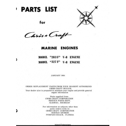 Chris Craft Marine Engines 283F & 327F V-8 Engine Parts List 1964 $5.95