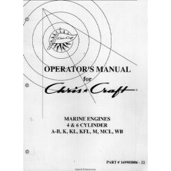 Chris Craft Marine Engines 4 & 6 Cylinder A-B, K, KL, KFL, M ,Mel, WB Operator's Manual $5.95