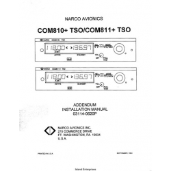 Narco Com 810 TSO, Com 811 TSO Addendum Installation Manual 03114-0620P 03114-0620P