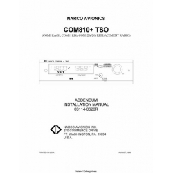 Narco Com 810 TSO Addendum Installation Manual 03114-0620R 1998
