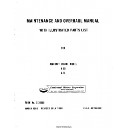 Continental A65 and A75 Aircraft Engine Maintenance & Overhaul Manual and Parts List 1966 - 1968 $9.95