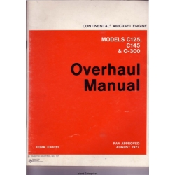 Continental C125, C145 and O-300 Aircraft Engines Overhaul Manual 1977 $13.95