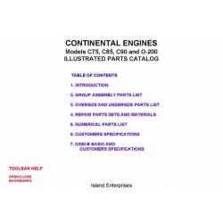 Continental C75, C85, C90 and O-200 Engines Illustrated Parts Catalog 1979 $9.95