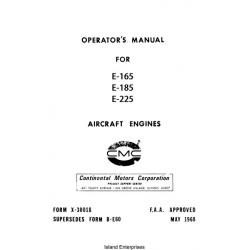 Continental E-165, E-185 and E-225 Aircraft Engine Operator's Manual 1968
