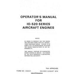 Continental IO-520 Series Aircraft Engines Operator's Manual 1974