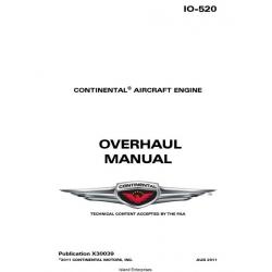 Continental IO-520 Series Engine X30039 Overhaul Manual 1977 - 2011 $19.95