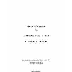 Continental R-670 Aircraft Engine Operator's Manual $13.95