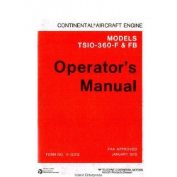 Continental TSIO-360-F and FB Aircraft Engine Operator's Manual 1978 $9.95