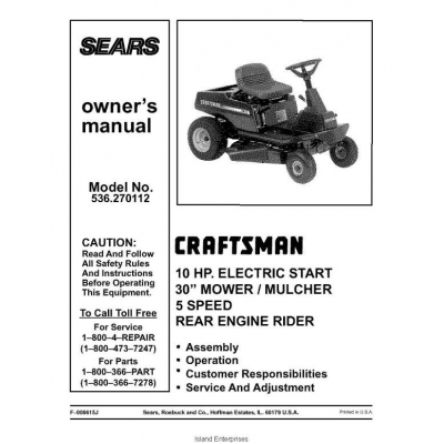 Sears Craftsman Rear Engine Rider 10 Hp Electric Start 30