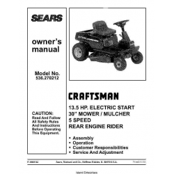 "Sears Craftsman Rear Engine Rider 13.5 HP Electric Start 30"" Mower/ Mulcher 5 Speed Model 536.270212 Owner's Manual $4.95"