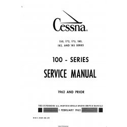 Cessna Model 100 Series (1962 and Prior) Service Manual D138-13 $19.95