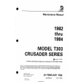 Cessna Model T303 Crusader Series (1982 thru 1984) Maintenance Manual D2532-2-13 $29.95