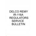 Delco Remy IR-116A Regulators Service Bulletin $9.95