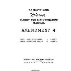 De Havilland Beaver Amendment 4 Flight and Maintenance Manual 1950 $5.95