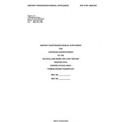 De Havilland DHC-2 MK 1 Beaver Aircraft Maintenance Manual Supplement $5.95