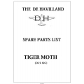 De Havilland Tiger Moth D.H. 82C Spare Parts List $9.95