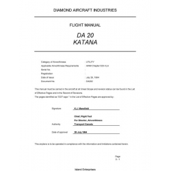 Diamond DA 20 Katana Aircraft Flight Manual/POH 1994 $13.95