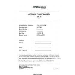 Diamond DA 40 Airplane Flight Manual/POH 2000 $6.95