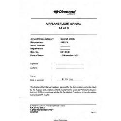 Diamond DA 40D Airplane Flight Manual/POH 2002 $13.95