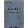 Dornier Do 217 E-1, E-3 Bedienungsvorschrift-FI Bedienung und Wartung des Flugzeuges $4.95