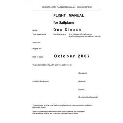 Duo Discus Sailplane Flight Manual/POH 2007 $9.95